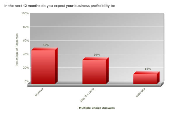 In the next 12 months do you expect your business profitability to: